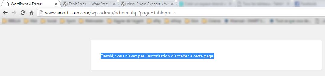 TablePress Error